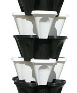 5-Tier-Black-Grey-Stackable-Strawberry-Garden-Vertical-Gardening-Planter-Set-0-0