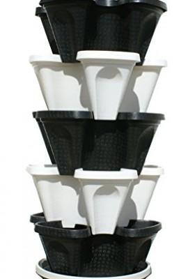 5-Tier-Black-Grey-Stackable-Strawberry-Garden-Vertical-Gardening-Planter-Set-0-0