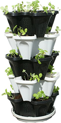5 Tier Black Grey Stackable Strawberry Garden Vertical Gardening Planter  Set Container Stacking Planters Container Gardening