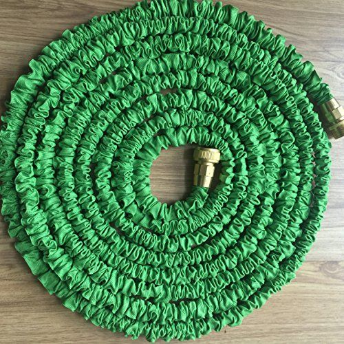 JFSG-Outdoor-Premier-Revised-Second-Edition-Expandable-50ft-Green-Garden-Water-Hose-by-JFSG-Outdoor-with-Brass-Connections-and-7-Pattern-Spray-Nozzle-with-Lifetime-Warranty-0-0