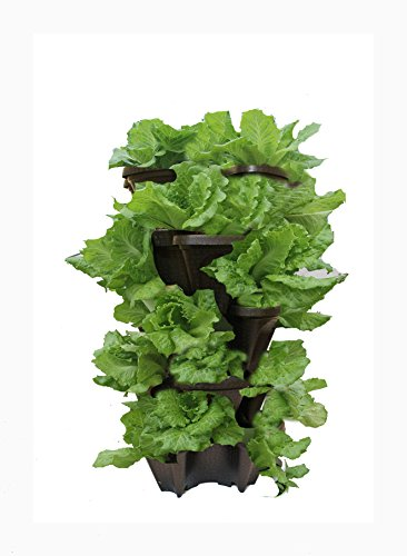 Large 5 Tier Vertical Garden Tower 5 Black Stackable Indoor Outdoor Hydroponic And Aquaponic