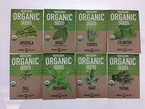 Organic-Heirloom-Non-GMO-Herb-Garden-Seeds-8-Variety-Kitchen-Herbal-Gardening-Assortment-Arugula-Basil-Chives-Cilantro-Dill-Oregano-Sage-Thyme-0