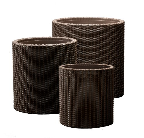 Keter-Round-Plastic-Rattan-Resin-Garden-Flower-Plant-Planters-Decor-Pots-3-pc-assorted-sizes-Brown-0