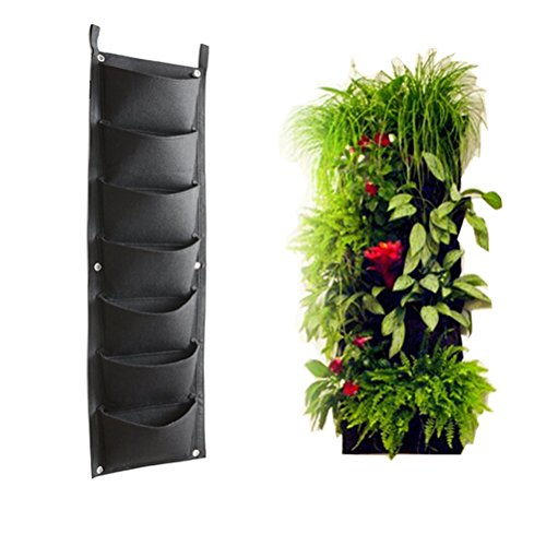 Amgate Garden 7 Pockets Vertical Wall Garden Planter Wall Mounted Plant~  Large Size 11.8 In X 40 In ~ For Indoor/Outdoor, Eco Friendly, Non Toxic ~  Ribbon ...