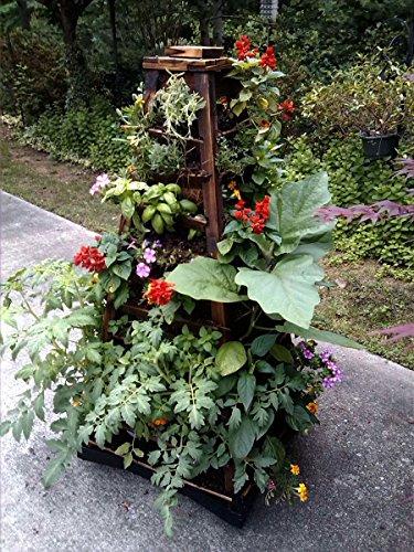 Earth tower vertical garden 4 sided wooden planter on wheels container garden club - Garden tower vertical container garden ...